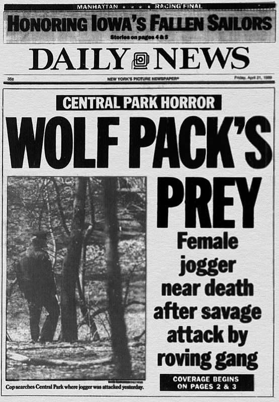 "Central Park Five described as ""Wolf Pack"""