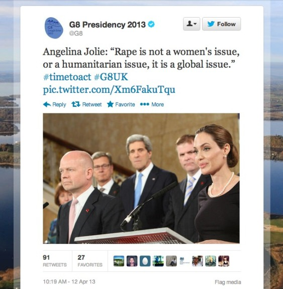 Angelina Jolie William Hague G8 Twitter