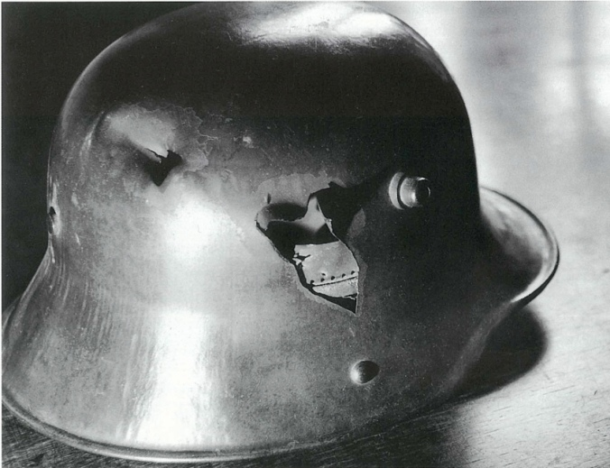 Jünger's steel helmet that barely saved his life in WWI
