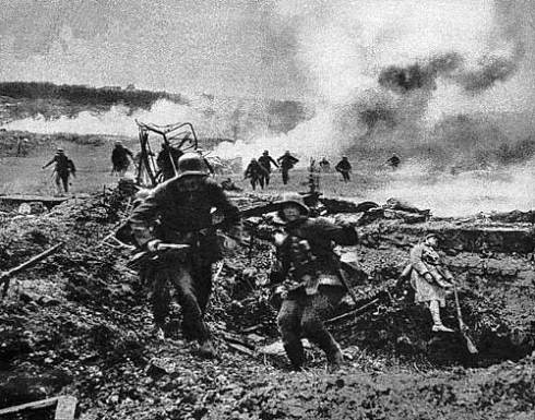 German shock-troops attack a French position