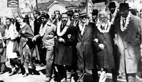 "Jewish theologian Abraham Heschel (author of The Prophets) walking with Martin Luther King. Heschel said ""it was easier for the children of Israel to cross the red sea than for a Negro to cross certain university campuses"""