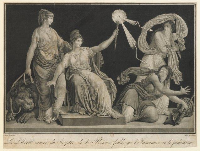 Liberté armée du sceptre de la Raison foudroye l'Ignorance et le Fanatisme (1793-5)