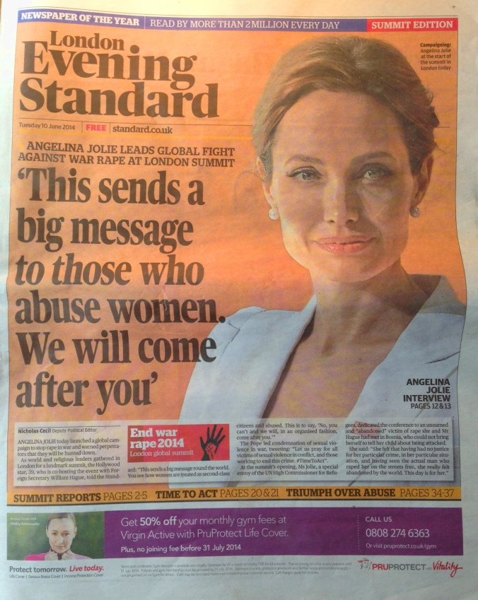 Angelina Jolie Evening Standard Sexual Violence We Will Come After You