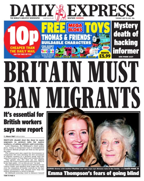 Daily Express - Britain Immigrants