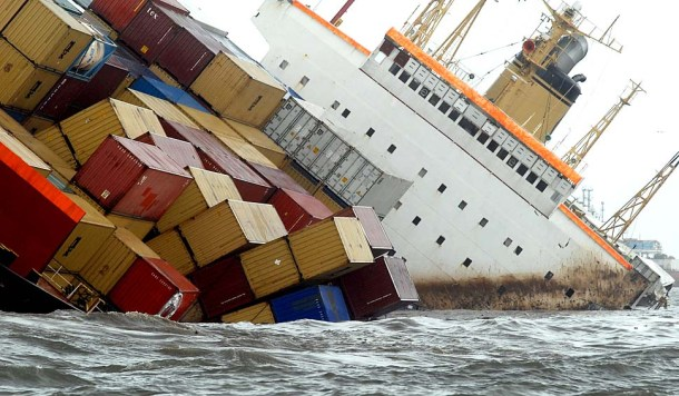 Cargo ship MSC Chitra after a collision with another similar vessel off the Mumbai coast