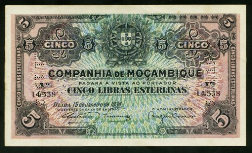 Banknote for Five Pounds Sterling, issued by the Mozambique Company in 1934