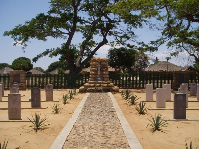 The British cemetery in Lumbo, northern Mozambique, where individual headstones are inscribed for the fallen white soldiers of the Empire in the Great War. A few names of non-white enlisted East African, West African and Indian soldiers who died are engraved on memorial stones at the side of cemetery. The dead African porters and civilians are not remembered.