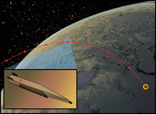 Artist's impression of  a hypersonic ballistic missile