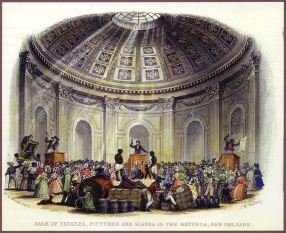 Engraving of the Slave Market at the Rotunda of the St.Louis Hotel in New Orleans where many of the Duparc slaves were bought and sold.