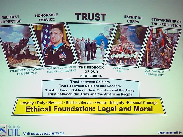 Flyer for military ethics training for 'young military leaders' in the US Army
