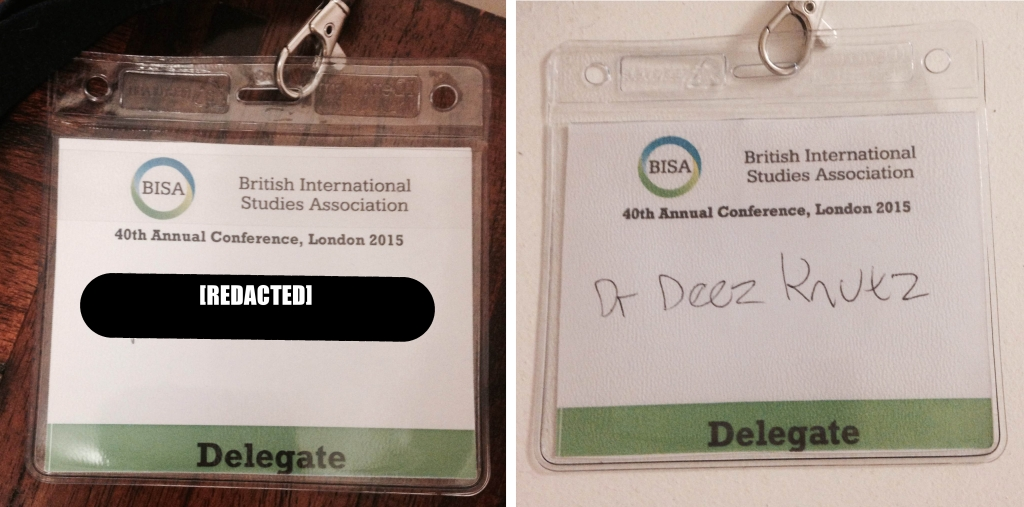 Spot the difference: one of these badges cost £150, the other 50p