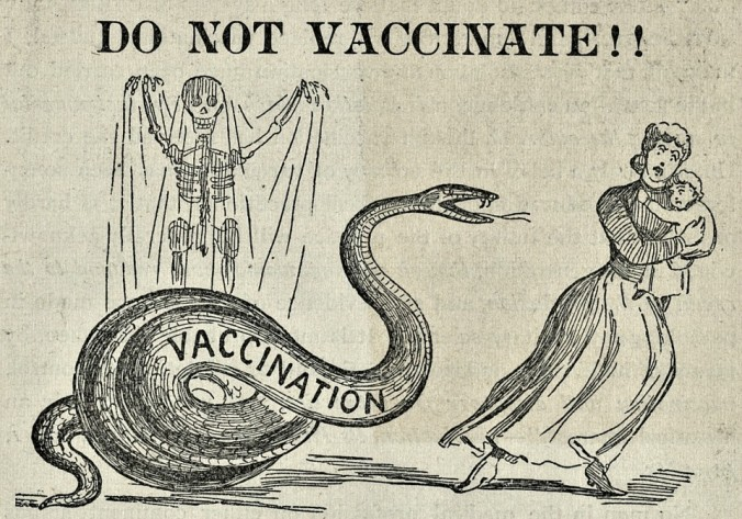 A cartoon from a December 1894 anti-vaccination publication.