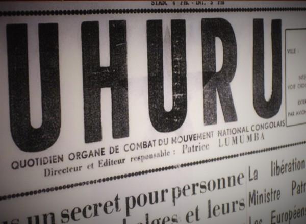 Uhuru Lumumba newspaper - Tervuren museum Rutazibwa