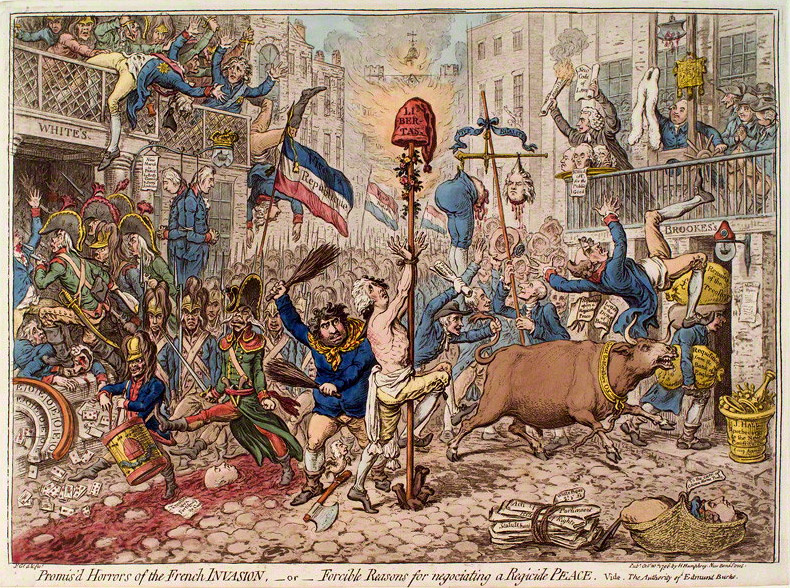 James Gillray - Promised Horrors of the French Invasion - Burke, French Revolution, caricature, Gillray